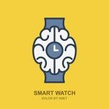 Icona di logo di vettore con il cervello e l'orologio Profilo astuto dell'orologio piano Fotografia Stock