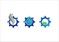 Icona di logo di vettore dell'ingranaggio di ecologia dell'acqua Fotografie Stock