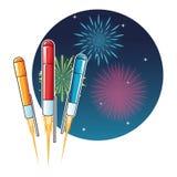 Icona di notte di esplosione di celebrazione del fuoco d'artificio Grafico di vettore Immagini Stock