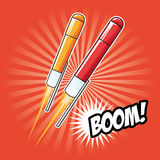 Icona di notte di esplosione di celebrazione del fuoco d'artificio Grafico di vettore Fotografie Stock Libere da Diritti