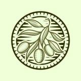 Icona di Olive Branch nel telaio rotondo stilizzato illustrazione vettoriale