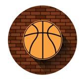Icona di pallacanestro della via con effetto ombra lungo Fotografia Stock Libera da Diritti