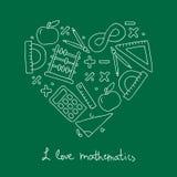 Icona di per la matematica sotto forma di un cuore Fotografia Stock Libera da Diritti