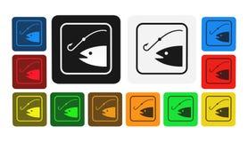 Icona di pesca, segno, illustrazione Immagini Stock Libere da Diritti