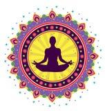 Icona di posizione del loto di yoga Fotografia Stock Libera da Diritti