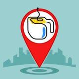 Icona di posizione di segno del perno della mappa Caffè o tazza di tè Fotografia Stock