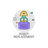 Icona di produzione di industria di automazione industriale del macchinario della sostituzione del robot illustrazione di stock