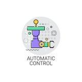 Icona di produzione di industria di automazione industriale del macchinario di controllo automatico illustrazione di stock