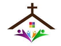Icona di progettazione di logo di amore di cura del sindacato della gente della chiesa della citt? su fondo bianco illustrazione vettoriale