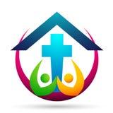 Icona di progettazione di logo di amore di cura del sindacato della gente della chiesa della citt? su fondo bianco illustrazione di stock