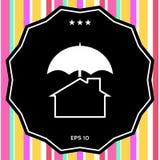 Icona di protezione e di sicurezza Casa sotto l'ombrello Fotografie Stock