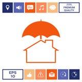 Icona di protezione e di sicurezza Casa sotto l'ombrello Fotografia Stock Libera da Diritti