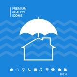Icona di protezione e di sicurezza Casa sotto l'ombrello Fotografia Stock