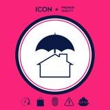 Icona di protezione e di sicurezza Casa sotto l'ombrello Immagini Stock
