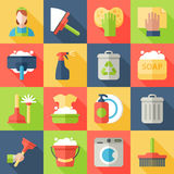 Icona di pulizia messa con i piatti delle finestre Immagini Stock