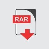 Icona di RAR piana illustrazione di stock