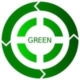 Icona di riciclaggio verde del tasto Fotografia Stock