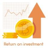 Icona di ritorno su investimento, stile del fumetto Fotografie Stock Libere da Diritti