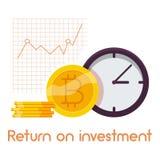 Icona di ritorno su investimento, stile del fumetto Fotografia Stock