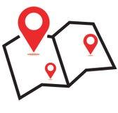 Icona di rosso della mappa tre Fotografia Stock Libera da Diritti