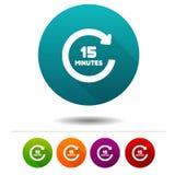 Icona di rotazione di 15 minuti Segno di simbolo del temporizzatore Bottone di web Fotografie Stock