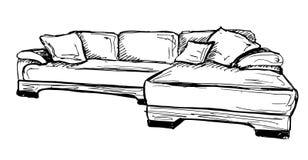 Icona di schizzo del sofà isolata su fondo Fotografie Stock
