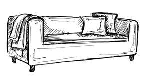 Icona di schizzo del sofà isolata su fondo Fotografia Stock
