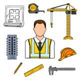 Icona di schizzo dell'ingegnere per progettazione di ingegneria civile Fotografia Stock Libera da Diritti