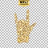 Icona di scintillio dell'oro della roccia della mano isolata su fondo Fotografia Stock Libera da Diritti