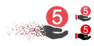 Icona di scomparsa di Dot Halftone Five Cents Payment illustrazione vettoriale