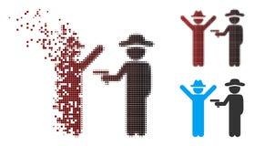 Icona di semitono decomposta di crimine del signore del pixel illustrazione di stock