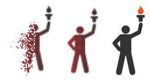 Icona di semitono dispersa di With Freedom Torch del capo del pixel Fotografia Stock