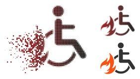 Icona di semitono dissolta del paziente dell'ustione del pixel illustrazione di stock