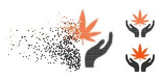 Icona di semitono punteggiata tagliuzzata di cura della cannabis illustrazione vettoriale