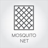 Icona di semplicità nello stile lineare delle zanzariere per le finestre Concetto di protezione dagli insetti Illustratore di vet royalty illustrazione gratis