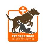 Icona di servizio veterinario dell'animale domestico con il cane ed il gatto royalty illustrazione gratis