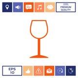 Icona di simbolo del bicchiere di vino Fotografia Stock Libera da Diritti