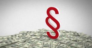 icona di simbolo della sezione 3D con le note dei soldi Fotografie Stock Libere da Diritti