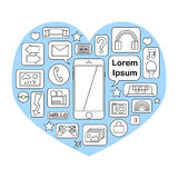Icona di Smartphone con le funzioni e le applicazioni Fotografia Stock