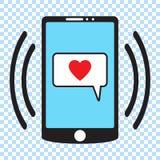 Icona di Smartphone, illustrazione di vettore del telefono cellulare Smartphone con cuore in un fumetto, messaggio di amore e del royalty illustrazione gratis
