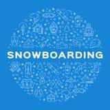 Icona di snowboard di vettore, collezione invernale dello snowboard Linea infographics di sport di arte Fotografie Stock Libere da Diritti