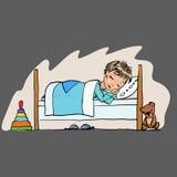 icona di sonno del bambino, un ragazzino nel modo del letto, il sonno della notte Fotografie Stock Libere da Diritti