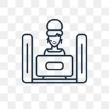 Icona di sorveglianza di vettore della TV isolata su fondo trasparente, linea illustrazione di stock
