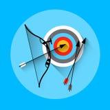 Icona di sport dell'attrezzatura dell'obiettivo della freccia di tiro con l'arco royalty illustrazione gratis