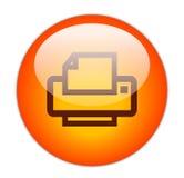 Icona di stampante rossa vetrosa Immagini Stock Libere da Diritti