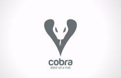 Icona di stile del tatuaggio. Logo de di vettore della siluetta della cobra Immagine Stock Libera da Diritti