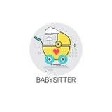 Icona di Stroller Child Cart della babysitter Fotografia Stock