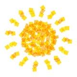 Icona di Sun fatta con i pezzi arancio Fotografie Stock Libere da Diritti