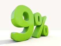 icona di tasso percentuale di 9% su un fondo bianco Fotografia Stock Libera da Diritti