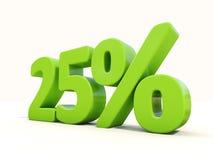 icona di tasso percentuale di 25% su un fondo bianco Fotografia Stock Libera da Diritti